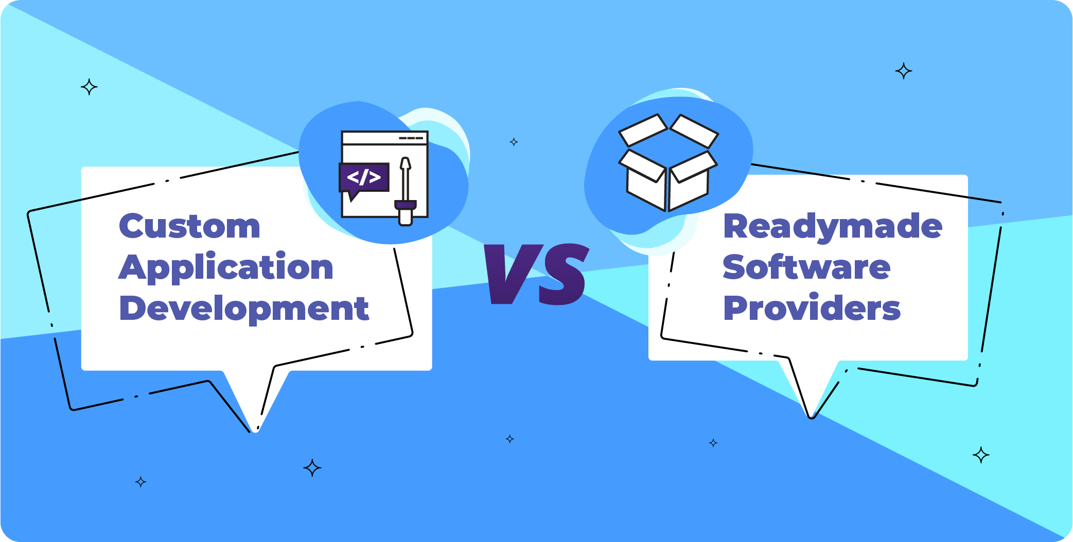 custom app development company vs readymade software title pic